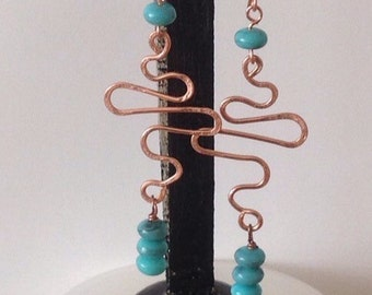 Earrings: hand crafted Turquoise & Copper earrings