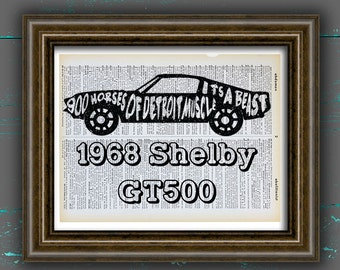 1968 Shelby Gt500 Ford Mustang Poster Shelby Print Shelby Poster Ford Poster Mustang Print Mustang Art