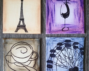 "4 panel Paris canvas magnet on 3""x3"""