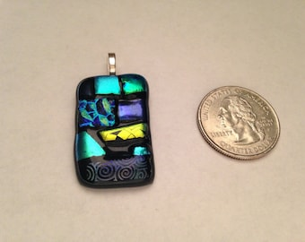 Fused Glass Pendant - Patchwork on Black