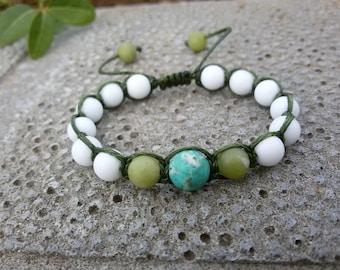 Kids Shamballa bracelet Child protection Baby bracelet White agate Turquoise Baby knoted jewelry Child stone bracelet Xmas gift for kids