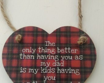 gift for dad, Gift for grandad, fathers day gift, wooden heart, hanging heart plaque, tartan heart, gift for him, home decor, shabby chic