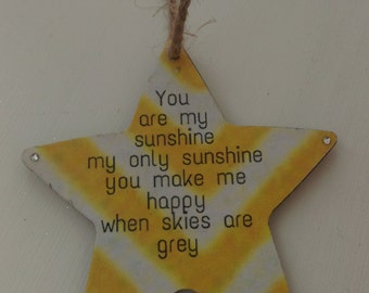 You are my sunshine star, shabby chic, rustic home decor, Gift for baby, baby shower, christening gift, home decor, yellow & white decor