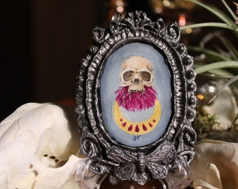 Skull with Dahlia Flower Original Tiny Cameo Painting