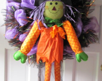 Halloween Witch Wreath Adorable Handmade Mesh Witch Wreath Create the Mood for Your Halloween Party