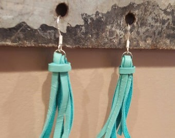 Turquoise deerskin leather tassel earrings