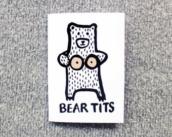 bear tits. fun blank greeting card.