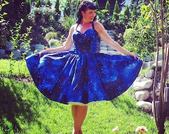 Pinup dress 'Joy dress Galaxy', galaxy print rockabilly dress, Halloween dress, nebula, 50s dress