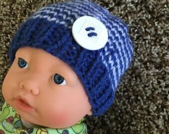 Hand knit  newborn baby boy beanie hat
