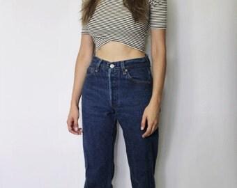 Vintage Levi's 501 Denim Jeans 26.5 | Levis 501 High Waist Denim Jeans | Dark Blue Denim Jeans