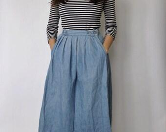 Vintage Denim Skirt   Denim Full Pleated Skirt   Calvin Klein Skirt   XS
