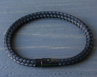Black Bracelet, Mens Bracelet, Black Mens Bracelet, Rope Mens Bracelet, Black Rope Bracelet, Mens Gift, For Him