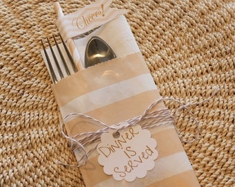 Paper Bag, 24 Wedding Buffet Silverware Bags, Ivory Stripe, Buffet Bags, Holds Napkin & Eating Utensil,  Wedding Favors, Baby Shower Favors