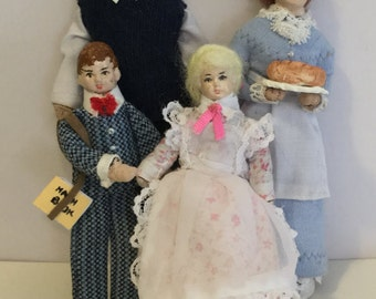 Mark's Family - Mother, Father, Daughter, Son, Miniature Dolls