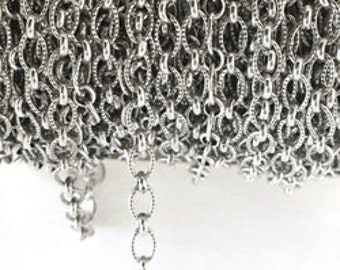 Sterling Silver Chain Round Wire Textured Ring & Conn. Chain Oxidized  4.8MM By Foot #407550OX