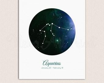 Aquarius Constellation, zodiac poster, Stars Print, Dark Blue Wall Art, Constellation Wall Print, Night Sky, Blue Decor, Printable Artwork