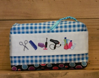 Blue Gingham & polka dots - Travel Cosmetic Bag - Makeup Bag - Zippered Bag - Custom Embroidery