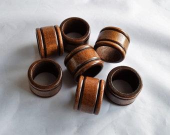 Vintage Set of 7 Wood Napkin rings