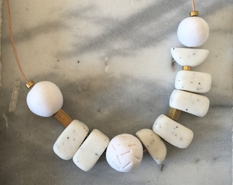 Polymer Clay Bead 'Minimalist' Necklace. White, Marble, Brass