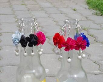 Colourful Handmade Paper Origamy Flower Earrings