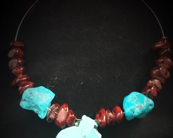 Turquoise & Red Jade Memory Wire Necklace 060