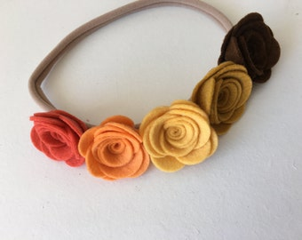 Autumn headband, Felt Flower Headband, Baby Headband, Girls Headband, Harvert Headband, Felt Flowers, Autumn Inspired Headband