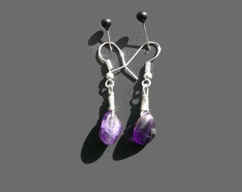 Natural Amethyst Earrings, Amethyst Earrings, Raw Natural Amethyst, Healing Crystals, Crystal Jewelry, Gift For Her