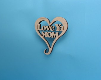 Love Ya Mom Heart Ornament