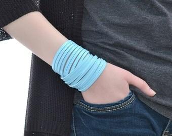 Sky Blue Double Wrap Leather Bracelet / Leather Bracelet For Women / Mens Leather Bracelet, Leather Band Bracelet, Leather Wristband