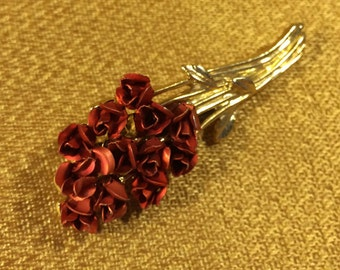 Vintage Long-Stem Dozen Rose Brooch
