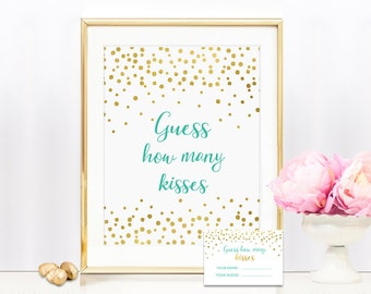 Mint & Gold Guess How Many Kisses 8x10 Sign Includes Guess Cards -  Bridal Shower Game Printable - Instant Download - BS11