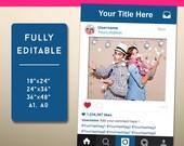 PDF Instagram Style Frame Photo Prop, Instagram Sign, Social Media Photo Prop, Wedding Sign, Instagram Party, INSTANT Download PDF - Sale !!