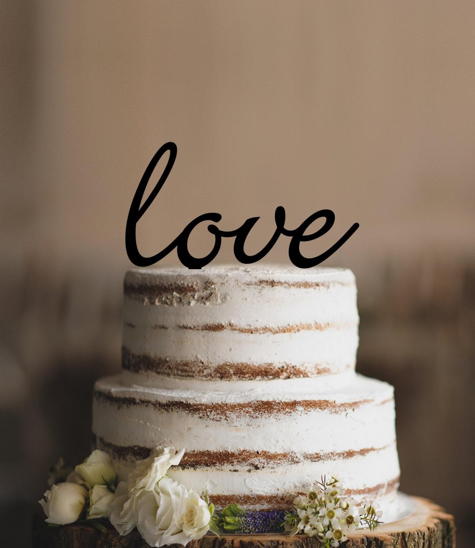Script LOVE Wedding Cake Topper Romantic Wedding by CFWeddings
