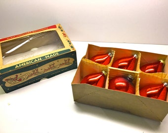 Vintage Glass Ornaments, American Made Set of 6 Red Ornaments - Original Box