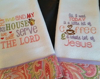Set of 2 Inspirational Dish Towels/ 2 Christian Kitchen Towels/ Scripture Dish Towels/ 2 Waffle Woven Kitchen Towels/ Embroidered Dish Towel