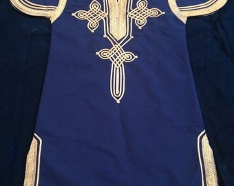 Dark blue tunic with tan embroidery