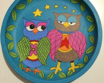 Owls in Love. Fruit bowl or decorative platter/plate