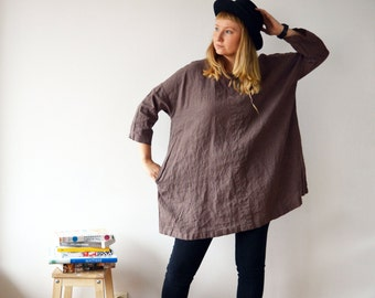 Plus size tunic, Oversized Tunic, Linen Tunic Dress, Womens tunic, Tunic tops, loose linen tunics for women, plus size clothing, tunic tops