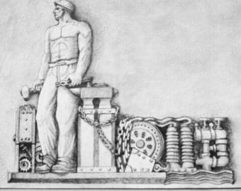 Bas Relief from the Farmers and Mechanics Bank, Minneapolis, Minnesota 1941. Graphite drawing A3 size.