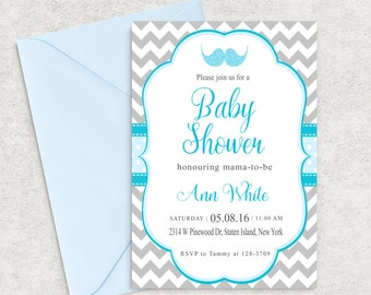 Grey chevron Baby Shower Invitation, Mustache Baby Shower Invitation, Printable Invitation, Boy Baby Shower Invite