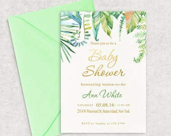 Tropical Leafs, Baby Shower Invitation, Leafs Baby Shower Invitation, Girl Baby Shower Invite, Boy Baby Shower Invite, Custom invitation