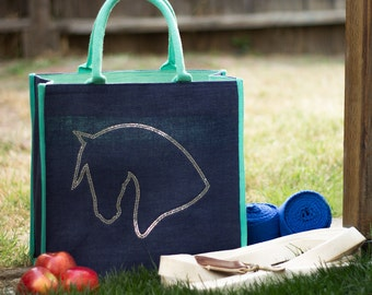 Horse Head Silhouette Crystal Tote