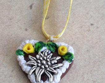 Necklace Edelweiss yellow, Octoberfest Heart