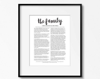 The Family A Proclamation to the World. Family Proclamation Print. LDS Art. Hand Lettering. LDS Family Proclamation. Mormon Art. LDS Church.
