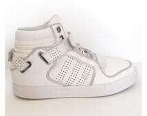 Adidas Adi-Rise Mid White and Chrome Vintage Trainers - UK Size 8.5