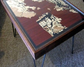 Bay Area Wood Map End Table