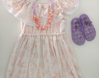 Girl's off the shoulder dress/ ruffle dress/ ruffle and crochet dress