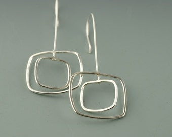 Sterling, Silver, Earrings, Dangle, Bridesmaid,  Hammered,Long Earring, Handmade, Jewellery, Square Dangle Earring