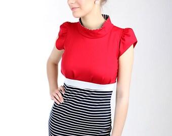 """MEKO """"Hedy"""" dress red blue women's short sleeve stripe"""