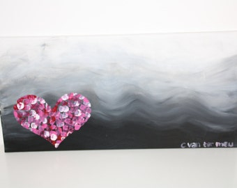 Abstract acrylic romantic heart painting on streched canvas
